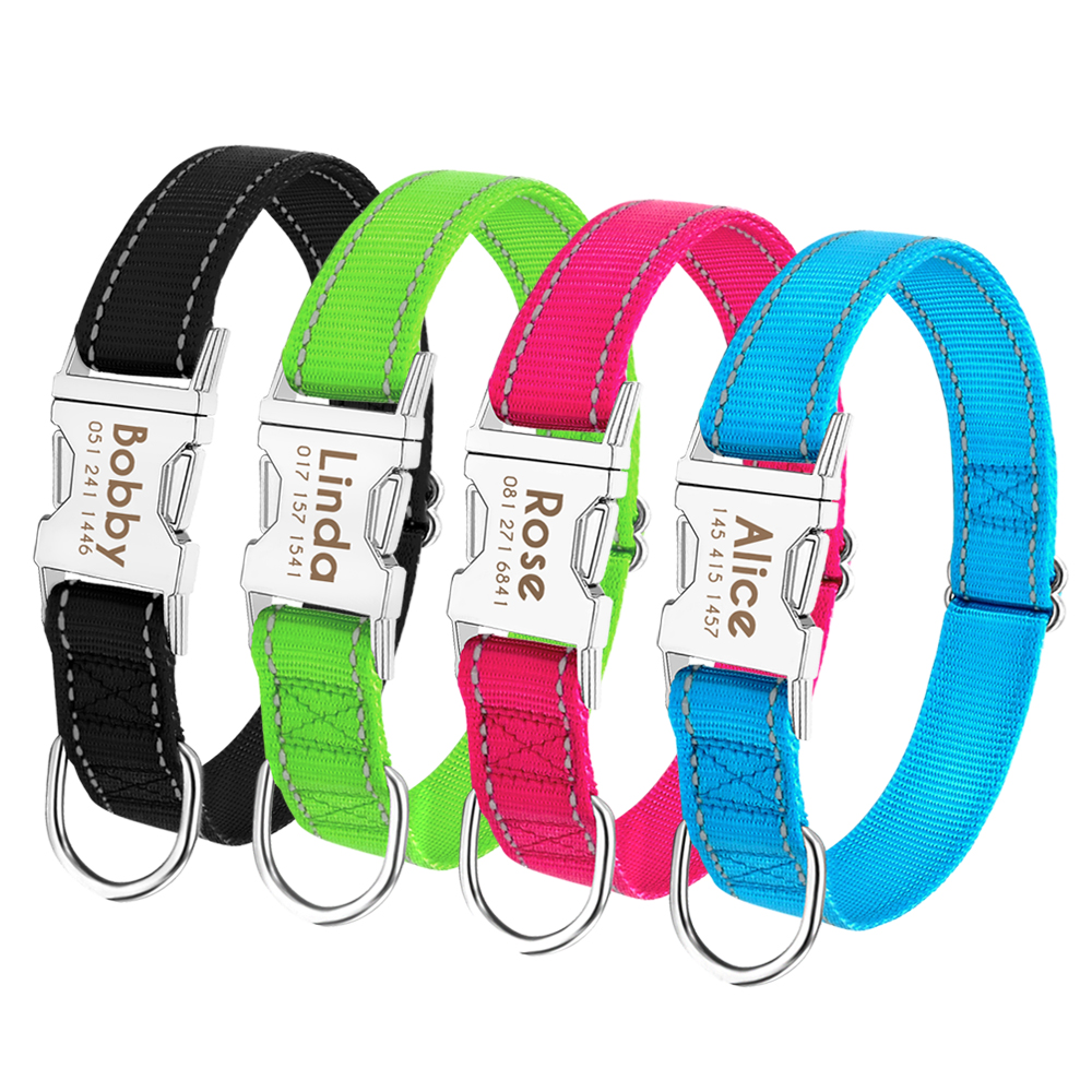 Personalized Dog Collar Durable Nylon Reflective Collar Custom Pet Dogs Collars For Small Medium Large Dogs 4