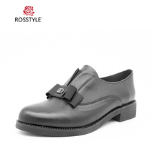 ROSSTYLE Women Shoes Flats Genuine Leather Spring Autumn Woman Loafers Solid Color Butterfly-Knot Fashion Slip-On P2