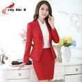 Mujeres oficina falda traje de más tamaño 4XL 5XL 2016 del OL delgado elegante camiseta de manga larga trajes para otoño obra para mujer trajes de negocios