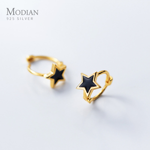 Image 2 - Modian Black Enamel Stars Jewelry For Girl & Women Exquisite Gold Color 925 Sterling Silver Fashion Pentagram Hoop Earrings