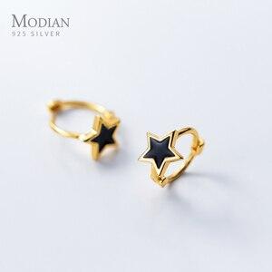 Image 2 - Modian noir émail étoiles bijoux pour fille et femmes exquise couleur or 925 en argent Sterling mode pentagramme boucles doreilles