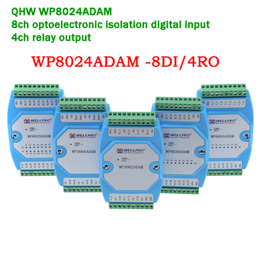 4ch Relay Output/8ch Optocoupler Isolated Digital Input Digital Output Module RS485 Converter Modbus RTU  Lightening Protection