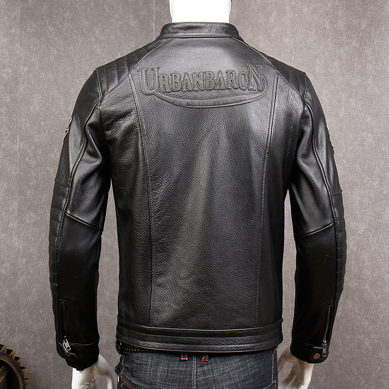Image 5 - HARLEY DAMSON Vintage Grey Men Slim Fit Biker's Leather Jacket Stand Collar Plus Size XXXXL Genuine Cowhide Spring Leather Coat-in Genuine Leather Coats from Men's Clothing