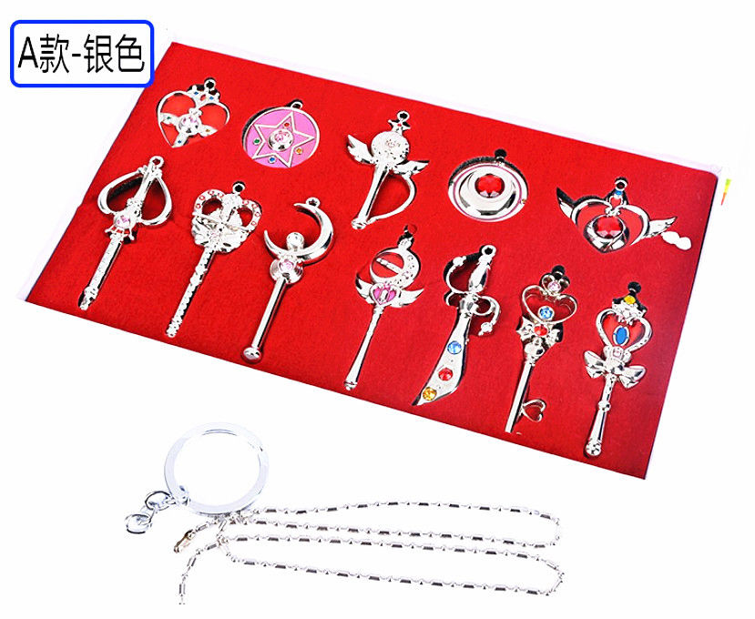 New Sailor Moon Keychain Badge Cosplay Accessories Sailor Moon Necklace Pendant Key Chains Box-packed Silver Color Only