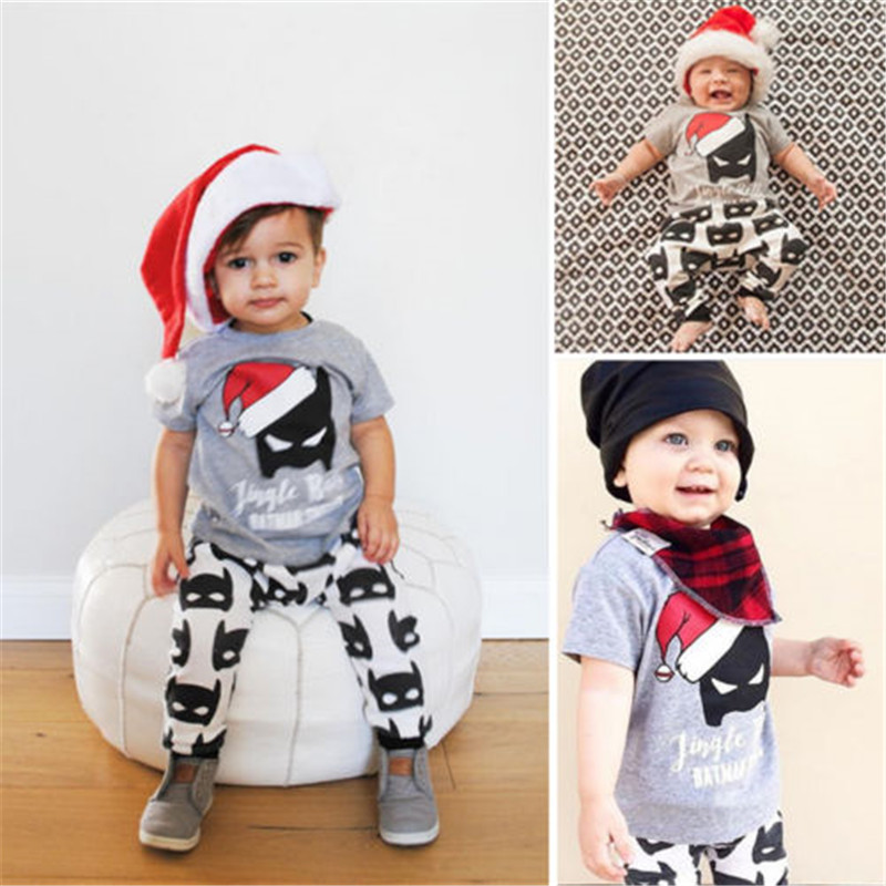 Toddler Kids Baby Boy Girls Summer Clothes Sets Christmas Batman Outfits  Tops+Long Pants 2pcs - 2016 Baby Boy Clothes Batman Set Baby Boy Girls Christmas Outfits