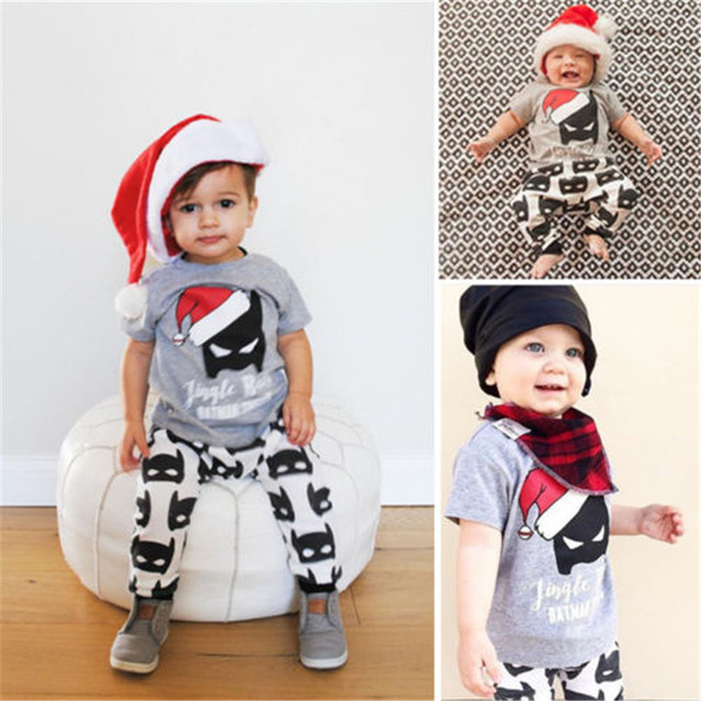 dcf8aaa45 Toddler Kids Baby Boy Girls Summer Clothes Sets Christmas Batman Outfits  Tops+Long Pants 2pcs Casual Clothes Set 2016 Newest