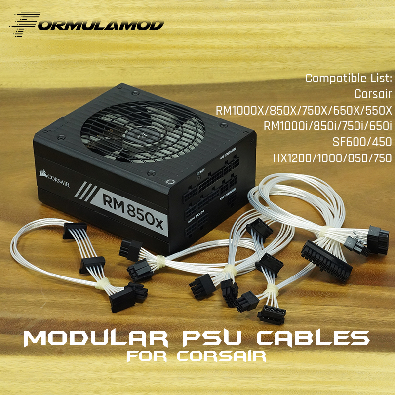 FormulaMod Fm-HDC-SL, Fully Modular PSU Cables, 18AWG Silver Plated, For Corsair RM/SF/HX Series Modular PSU