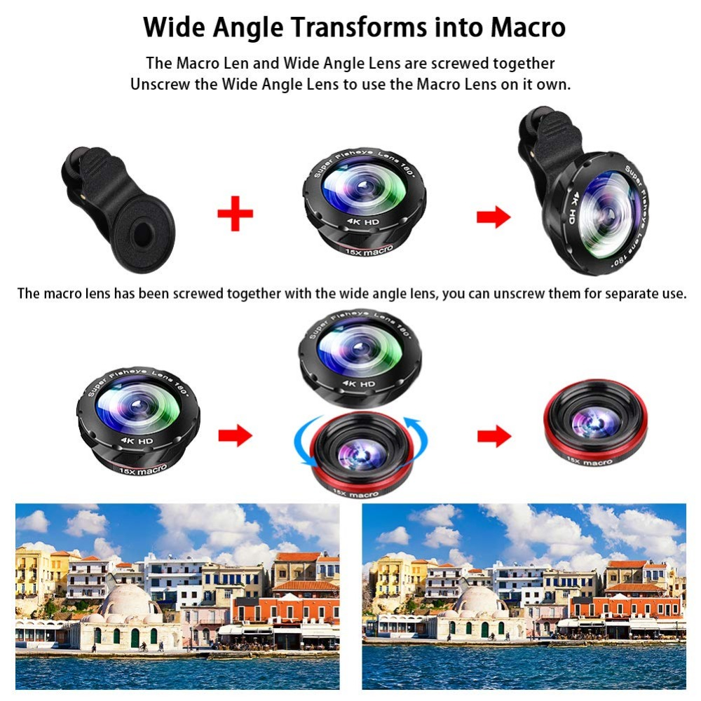 Kit de lente de Zoom de teléfono: lente teleobjetivo de alta definición 15X + gran angular y ojo de pez y lente Macro (2 lentes) para iPhone S amsung Android - 4