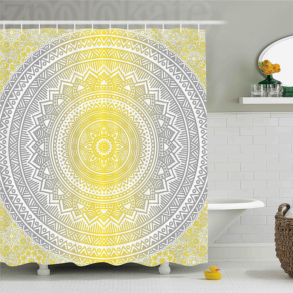 Grey and Yellow Shower Curtain Soft Pastel Color Ombre Ethnic Tribal Mandala Circular Art Medallion Print Bathroom Decor Set wit