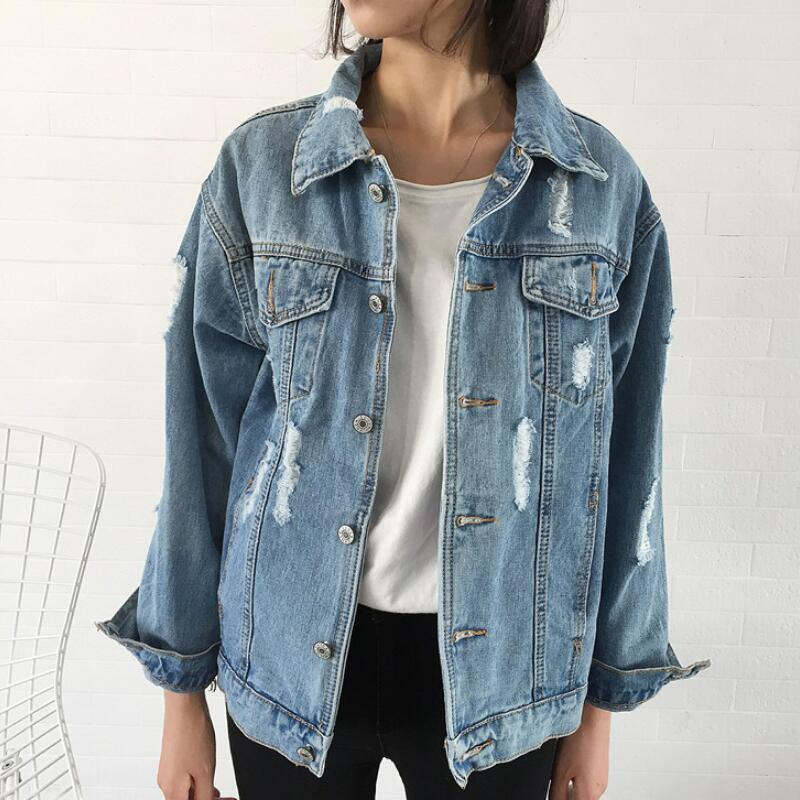 2019 new women's   basic     jacket   denim women's spring denim   jacket   women's shirt loose casual style
