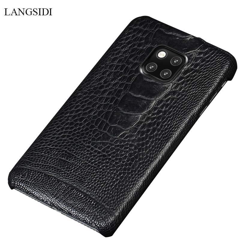 100% étui de protection en cuir véritable d'autruche pour Huawei mate 20 10 pro mate 9 pro Honor 9 Lite luxueuse coque de téléphone haut de gamme