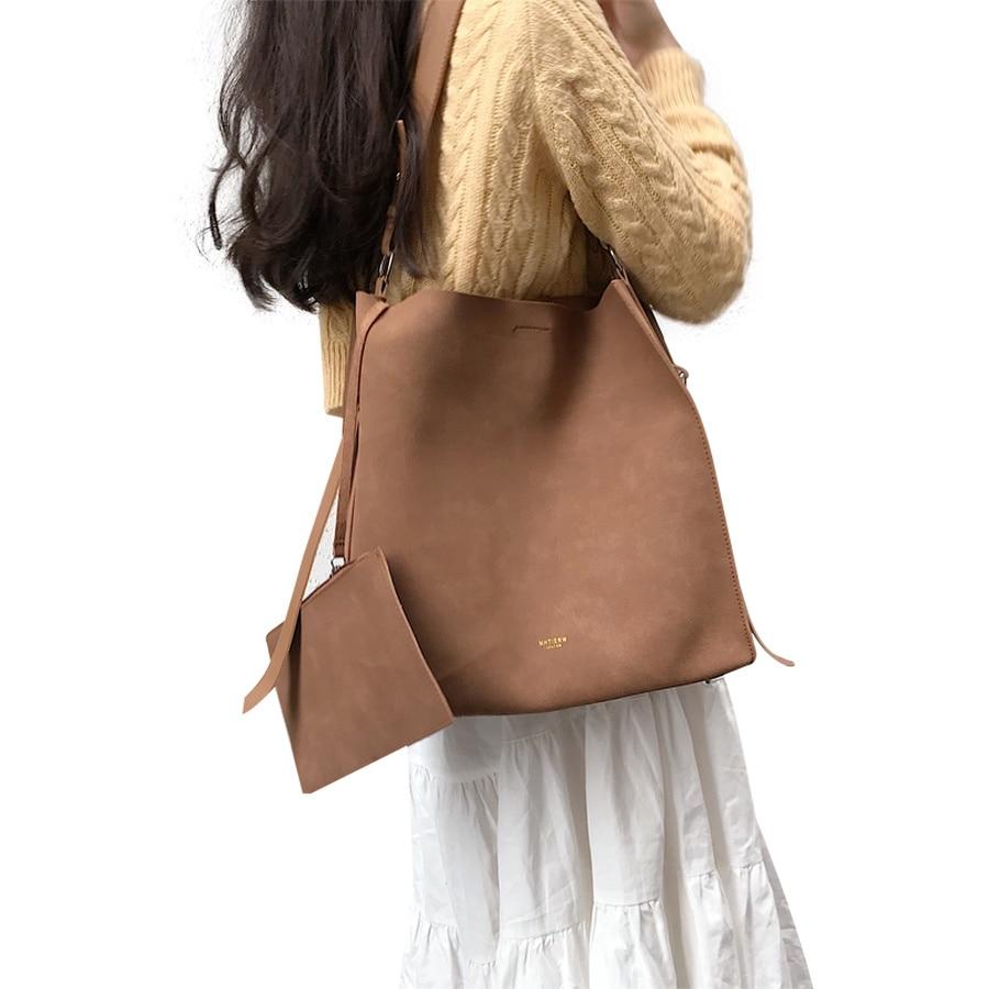 Fashion Women Buckets Bag Nubuck Leather Shoulder Bags Women's Handbags Large Capacity Female Messenger Bag Vintage Totes Purses