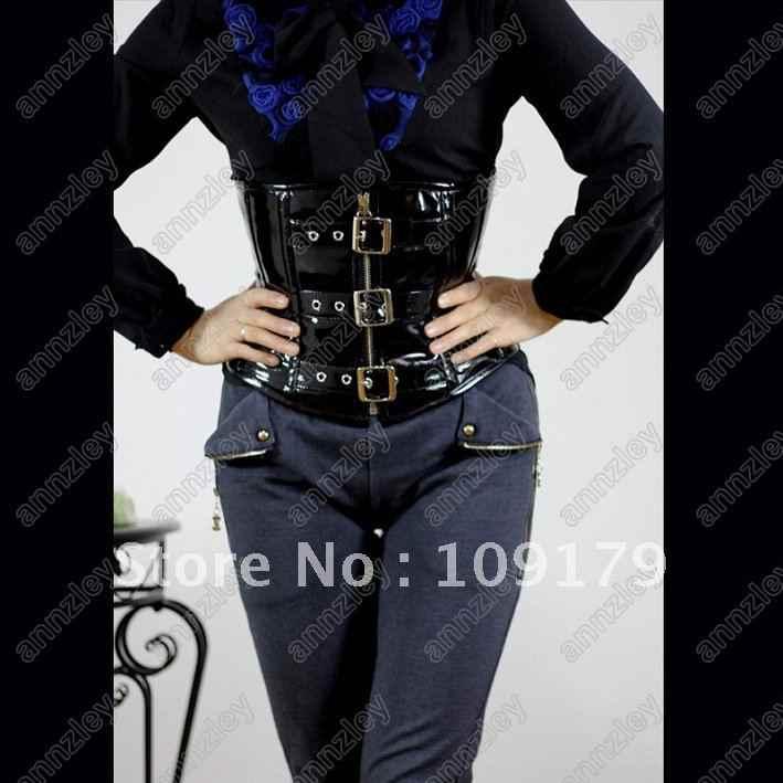 Annzley корсет! Черная лакированная кожа Корсеты бюстье сильная плотная шнуровка под грудью уменьшение талии женская блуза