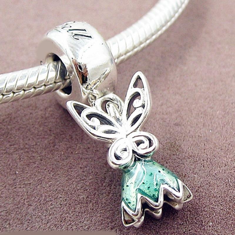 New bead Fit Original Pandora Bracelets 925 Sterling Silver Tinker Bell\'s Dress Glittering Green Enamel Charm Spring Diy Jewelry (1)