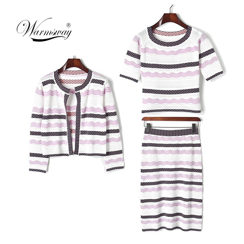 3 pièces femmes évider tricot recadrée t-shirt taille haute jupes court cardigan costumes Vintage ensembles pour femme élégante C-160