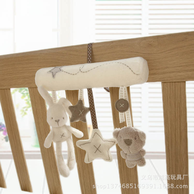 Baby lovely animal development cradle hanging rattle soft plush rabbit baby music car trailer around safety seat hanging toys in Baby Rattles Mobiles from Toys Hobbies