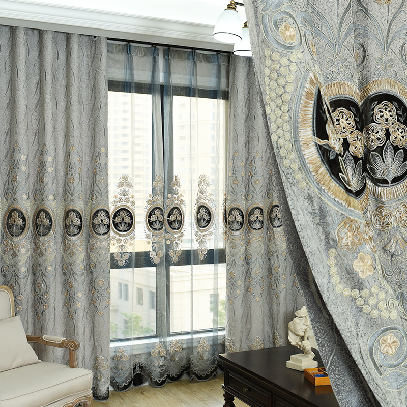 2018 New Curtain Chenille Curtains for Bedroom Embroidery European Curtains for Living Room Curtain Screen