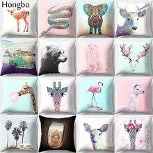 Funda de cojín Hongbo 1 Uds para decoración del hogar, funda de cojín vintage de Navidad con elefante, León, jirafa, serpiente, jardín, unicornio, funda de almohada