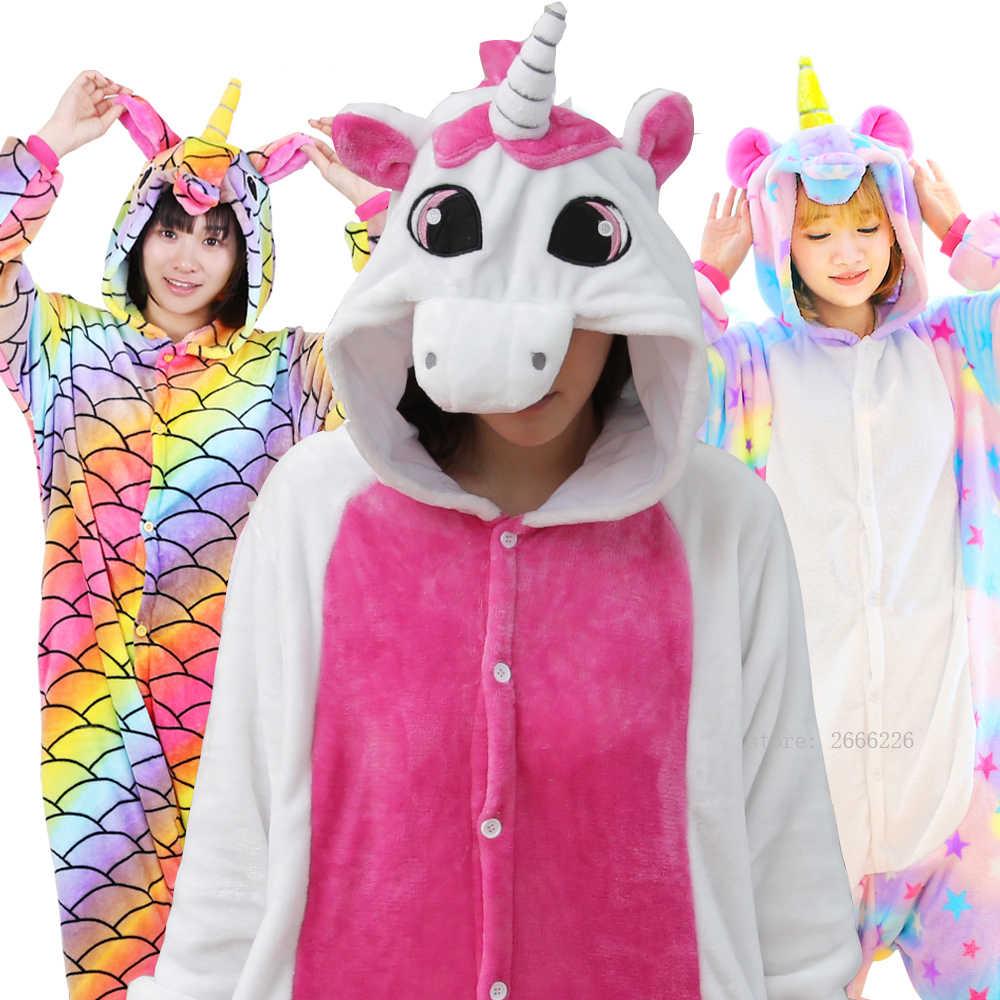 Розовый Единорог пижамы наборы фланель милый мультфильм животных пижамы  зимняя супер мягкая фланелевая ночнушка стежка Пижама 62b398e692300