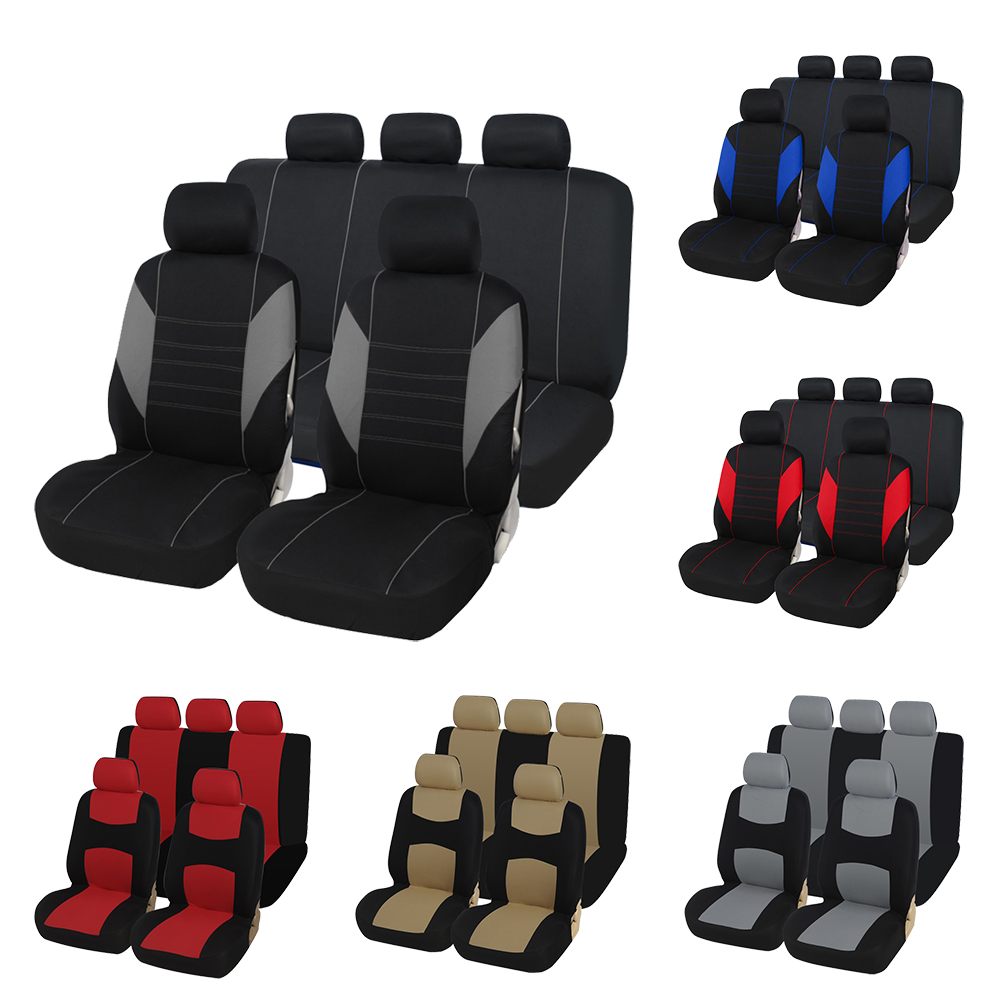 Car-Seat-Covers Cloth Airbag Van Truck 100%Breathable Fit Or SUV Most Polyester