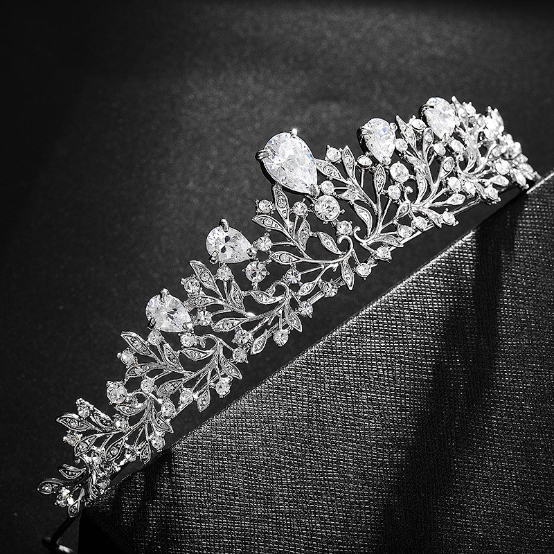 Bridal Tiaras Headpiece Hair-Accessories Crystal Rhinestone Pageant Cubic-Zirconia-Leaves
