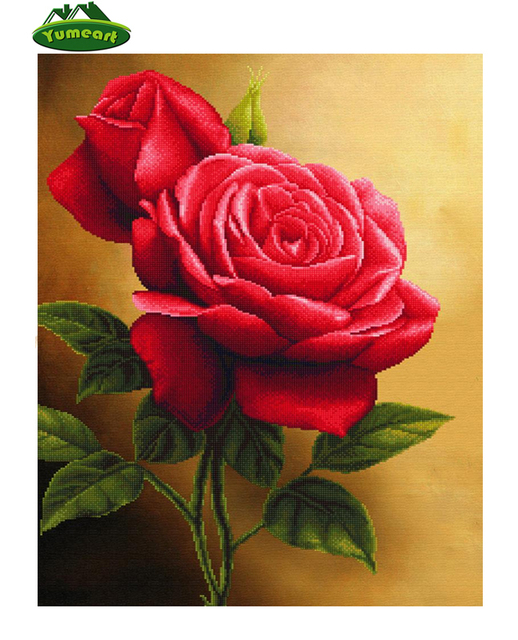 Diy Diamond Embroidery Beautiful Red Rose Flower Sewing