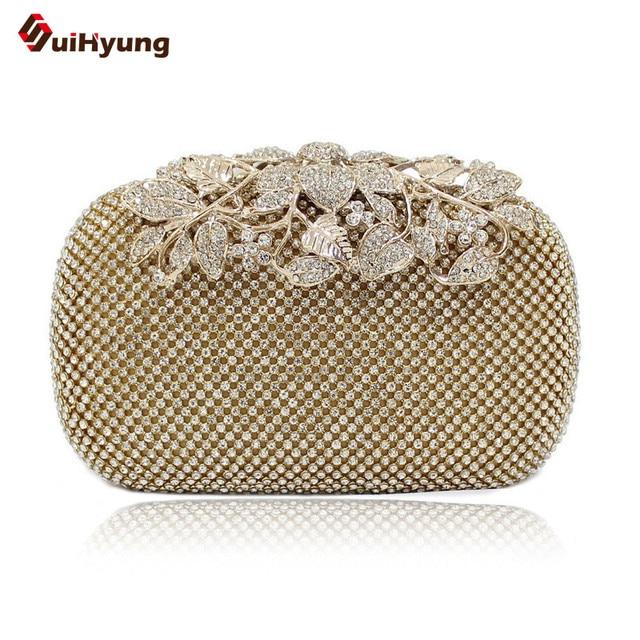 Good Quality Women Evening Bag Luxury Full Diamond Wedding Handbag Purse Elegant Leaves Flowers Clutch Bag Bblack Gold Silver