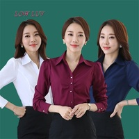 Elegant Women Career White Shirts Size S 3XL Long Sleeve Button Design Clothing 2017 Office