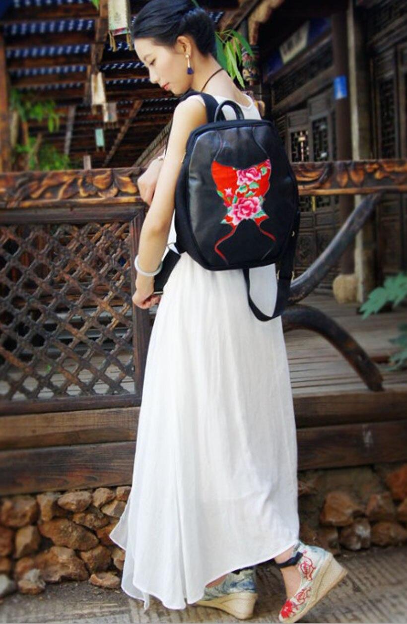 Ethnique À Same Dos As Vachette Main Brodé Chinois Femmes Yunnan Cartable La Broderie Color Sac color Pictur Fleurs Véritable Mochila Pictur 4Iqdnx5aw