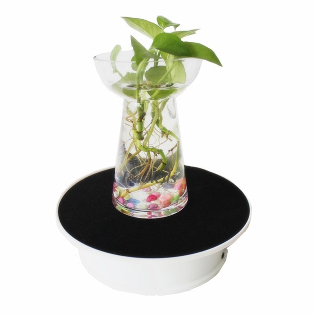 20cm Electric Rotating Display Stand Turn Table with LED Light display Jewelry Phone Watch