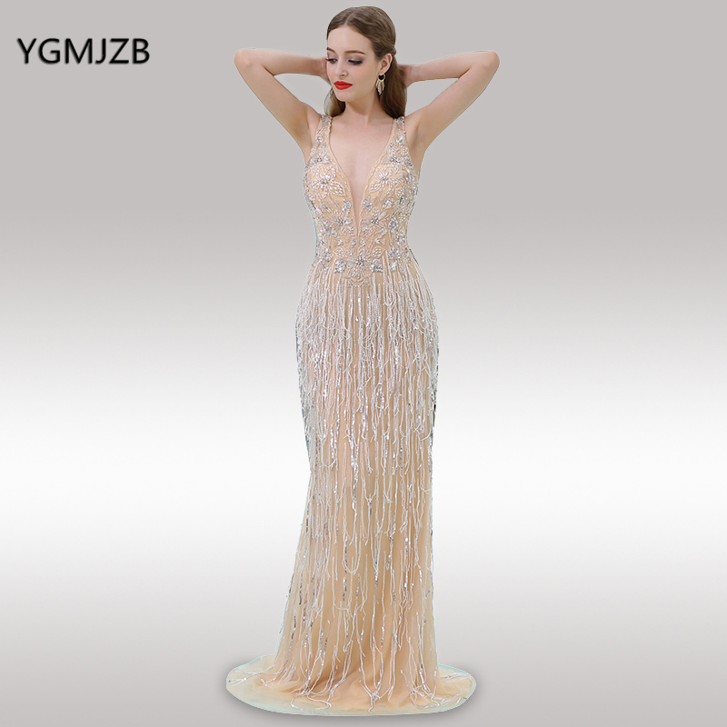 Luxury Long   Evening     Dresses   2018 Mermaid V Neck Sleeveless Beaded Crystal Sequined Tulle Prom   Evening   Gown Vestido De Festa