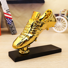 New Best Resin Gold Plating The Golden Football Boot Champions League Award Trophy Cup Soccer Clubs Fans Souvenirs Collectibles 28cm height champion trophy resin afc champions league trophy model fans souvenirs trophy soccer souvenirs collectibles 2019