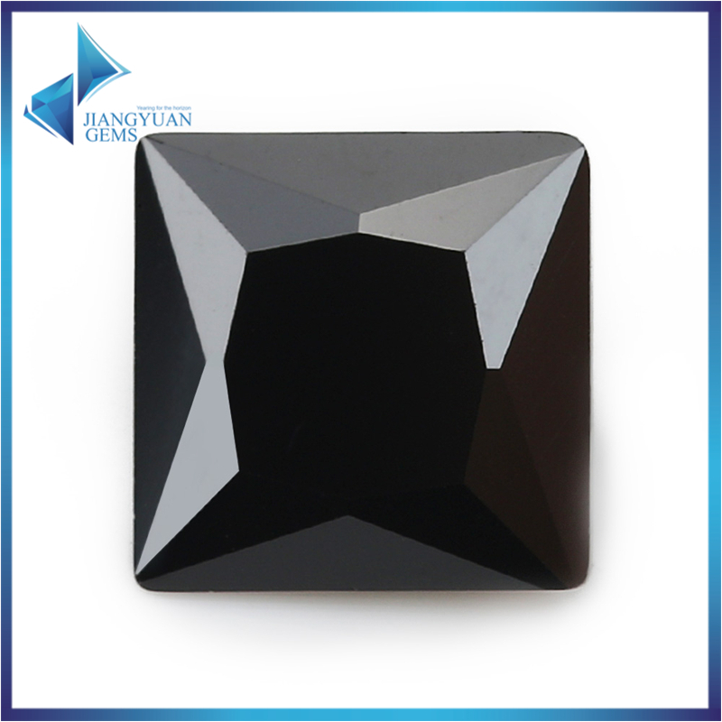 50Pcs Square Shape Princess Cut 5A Black Zirconia Stone 2x2-15x150mm Synthetic Gems CZ stone For Jewelry