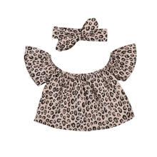 ae83f6316 Infantile Bébé Vêtements Bébé Fille Top épaules Écharpe Léopard 2 PCS  Outfit Set Belle Enfant Filles Tops Blouses Vêtements ense.