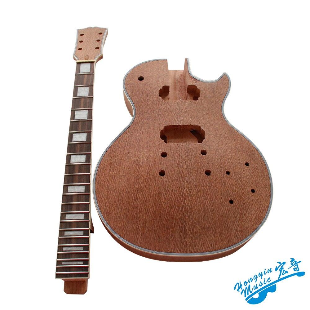 Kit de bricolage guitare électrique Style LP ensemble 3A Grade africain perle placage acajou africain okoumé corps cou palissandre touche
