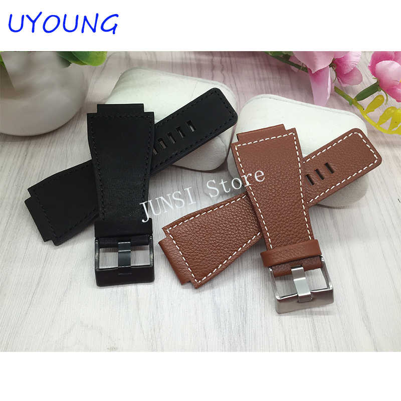 Kwaliteit Lederen Horlogeband 34x24mm Voor Mens Black Vervanging Nylon Strap