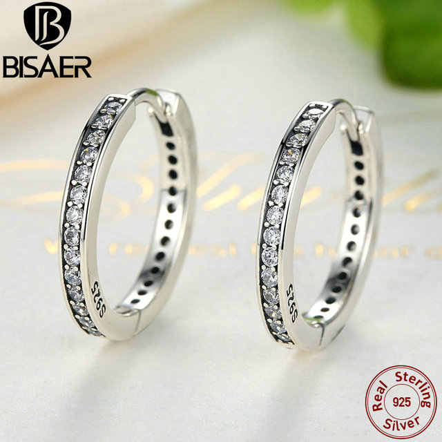 Genuine 925-Sterling-Silver Eternity Hoop Earrings For Women Ear Cuff Brincos Compatible with Sterling Silver Jewelry