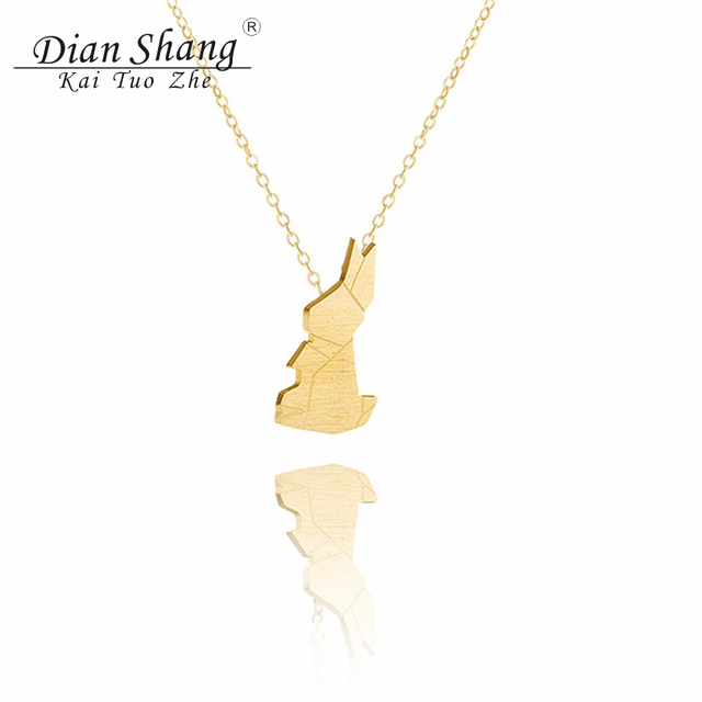 2017 easter jewelry good luck origami rabbit choker necklace 2017 easter jewelry good luck origami rabbit choker necklace stainless steel charm women bunny pendant necklace negle Image collections