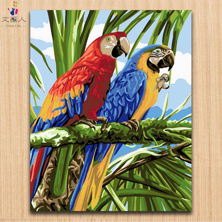 Paints by numbers Two loving red blue parrots animal birds pictures paintings by numbers with kits as a gift to friends 40x50
