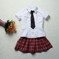 Sexy Short Sleeves Japanese Schoolgirls Cosplay Costume Sailor Dress