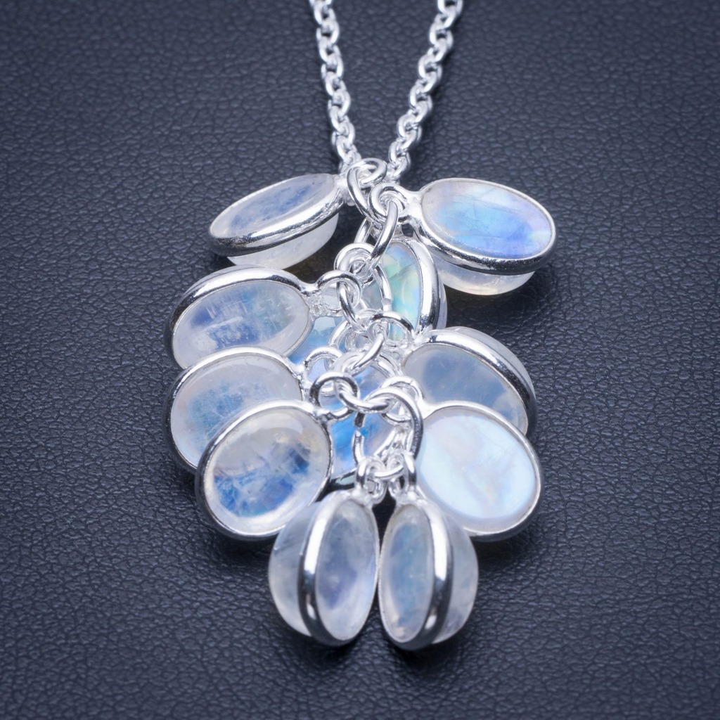 Natural Rainbow Moonstone 925 Sterling Silver Necklace 17 25 Q2821