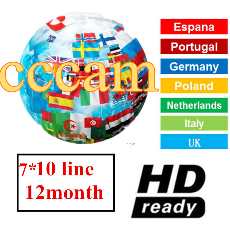 CCCAM Europe Cline 10 Clines 7 Lines For Spain Uk French Germany Netherland Polsat For Satellte Receiver Decoder CCCAM