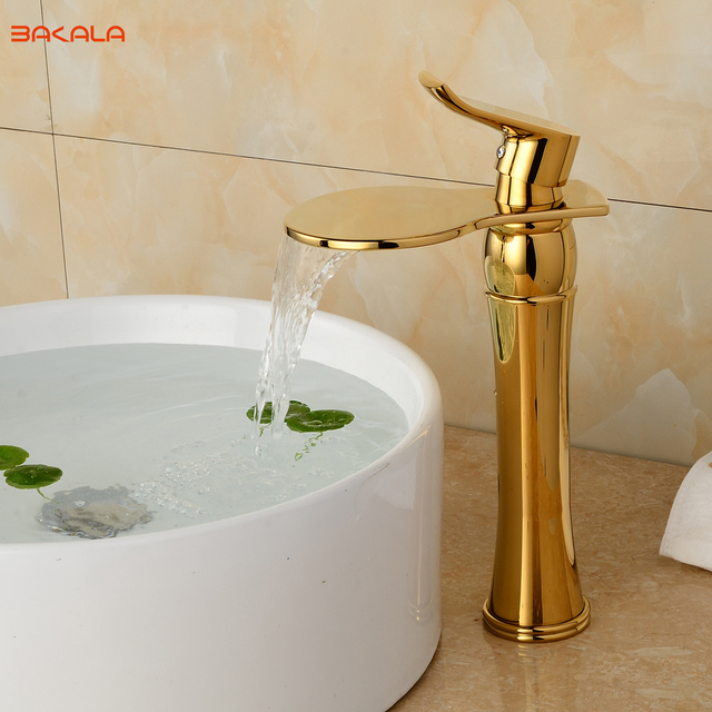Luxus Badarmaturen luxus deck halterung einen handgriff waschbecken waschbecken gold