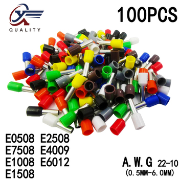 100pcs/Pack E0508 E7508 E1008 E1508 E2508 Insulated Ferrules Terminal Block Cord End Wire Connector Electrical Crimp Terminator