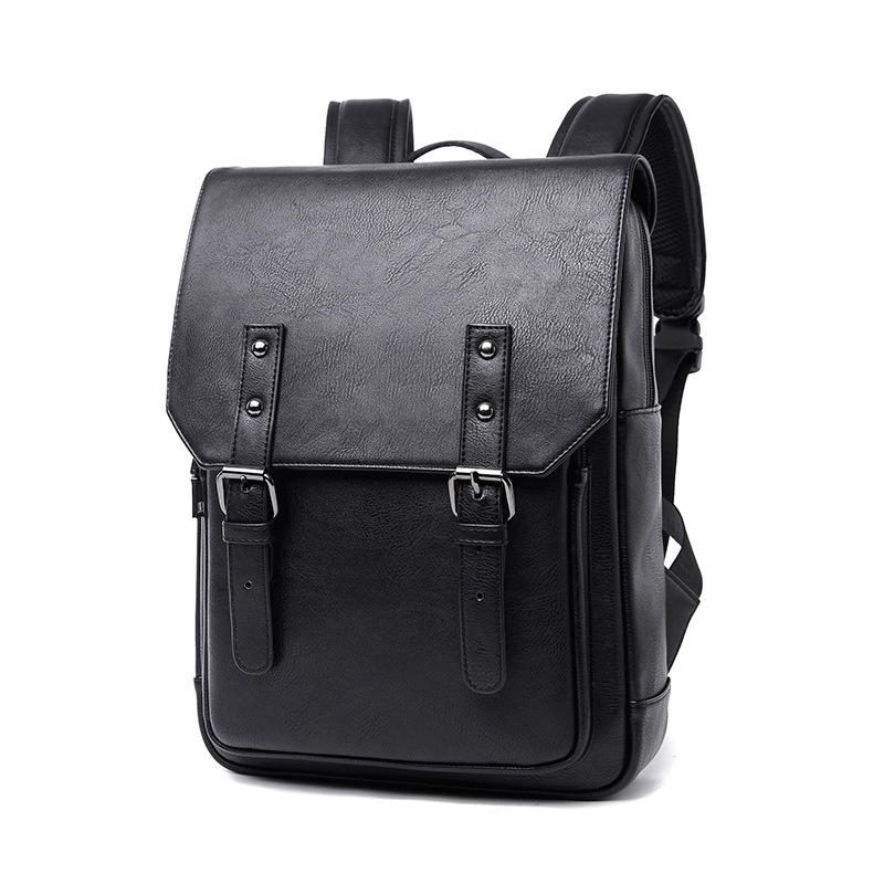 New Fashion Men Black Backpack Leather Bag Man Travel Shoulder Bag Laptop High Quality Male Campus Student Back Bag