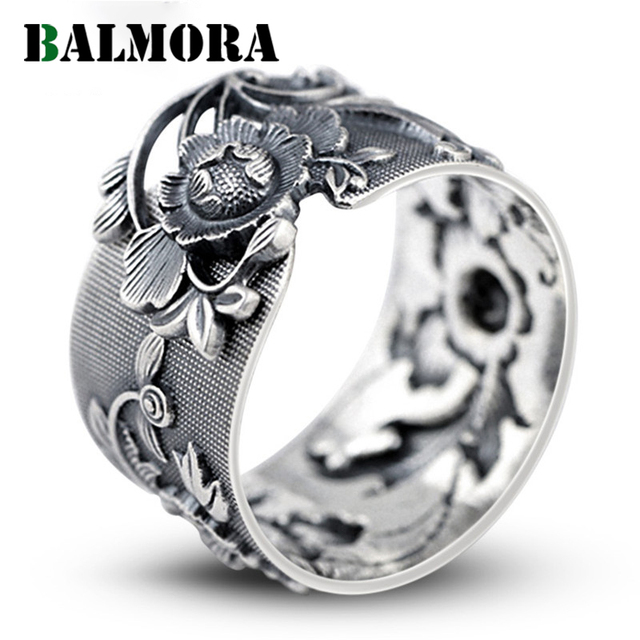 BALMORA Vintage Flower 999 Pure Silver Open Rings for Women Lover Party Gift Flo
