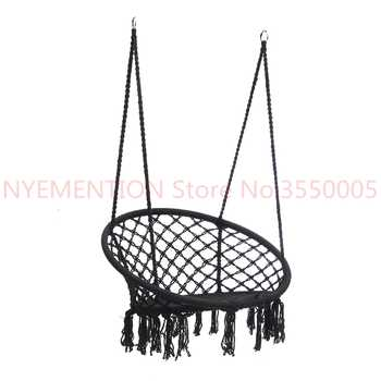 Nordic Style Round Hammock Outdoor Indoor Dormitory Bedroom Hanging Chair For Child Adult Swinging Single Safety Hammock 1pcs - SALE ITEM Furniture