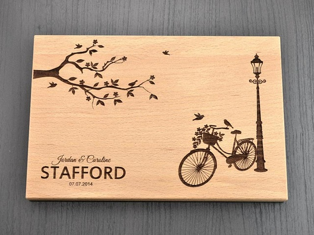 """""""Personalized Bike"""" Party favors and gifts Custom Engraved Wooden Cheese Board, Wood chopping"""