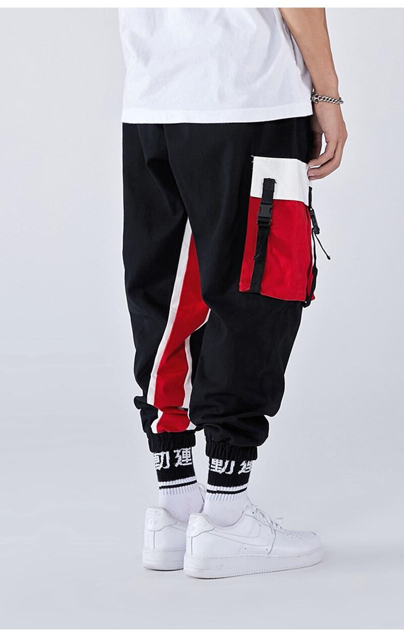 Aolamegs Men Side Strip Track Pants Pocket Pants Men Elastic Waist Sweatpants Casual Streetwear Hip Hop Men High Street Pants (16)