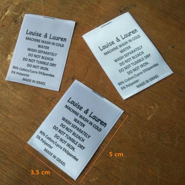 3ddb7fc3c Personalizado white satin pano de lavar roupa imprimir etiquetas de  vestuário etiqueta de cuidados do bebê